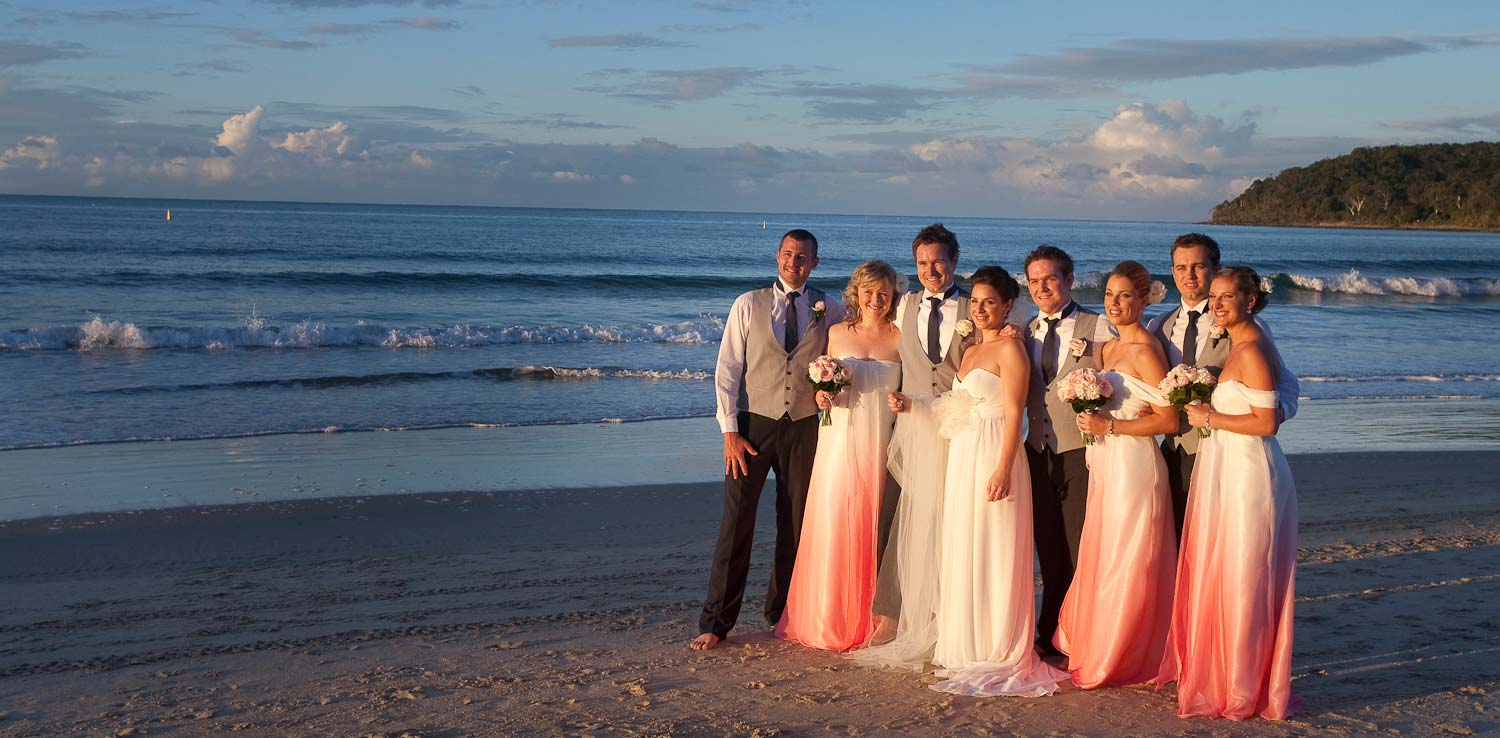 noosa wedding party sunset beach walk